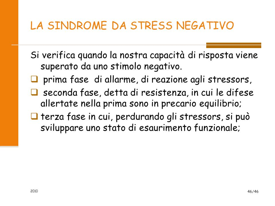 LA SINDROME DA STRESS NEGATIVO