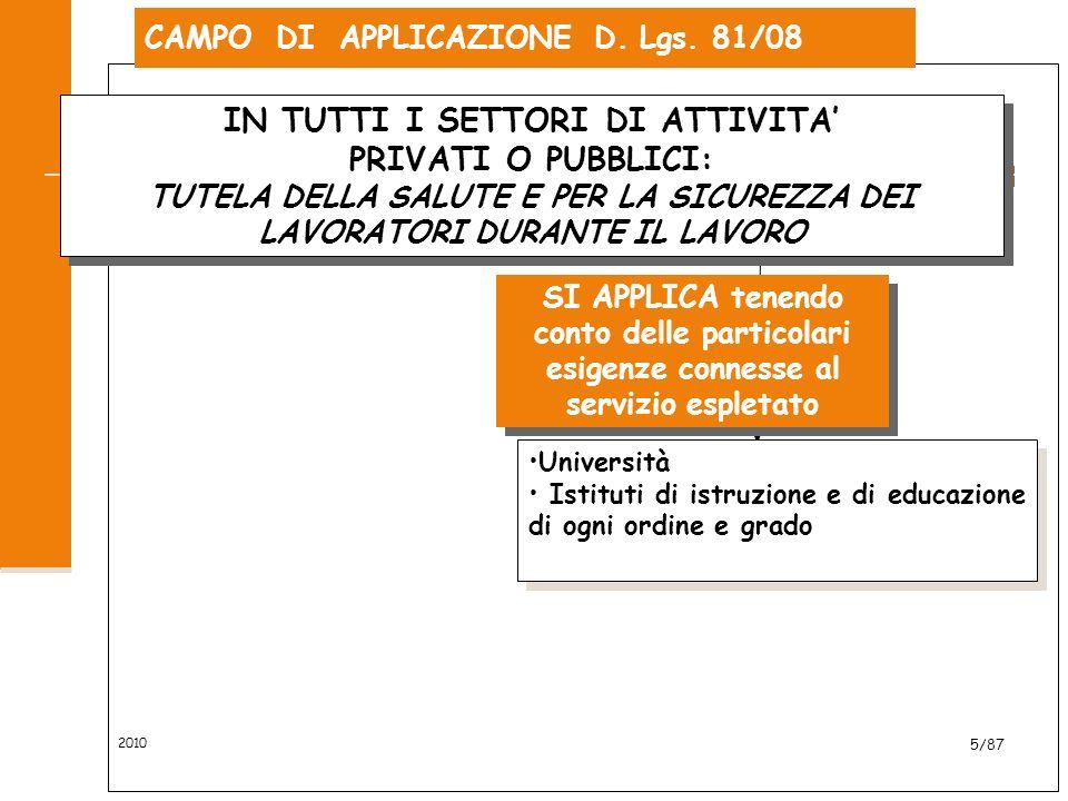 CAMPO DI APPLICAZIONE D. Lgs. 81/08