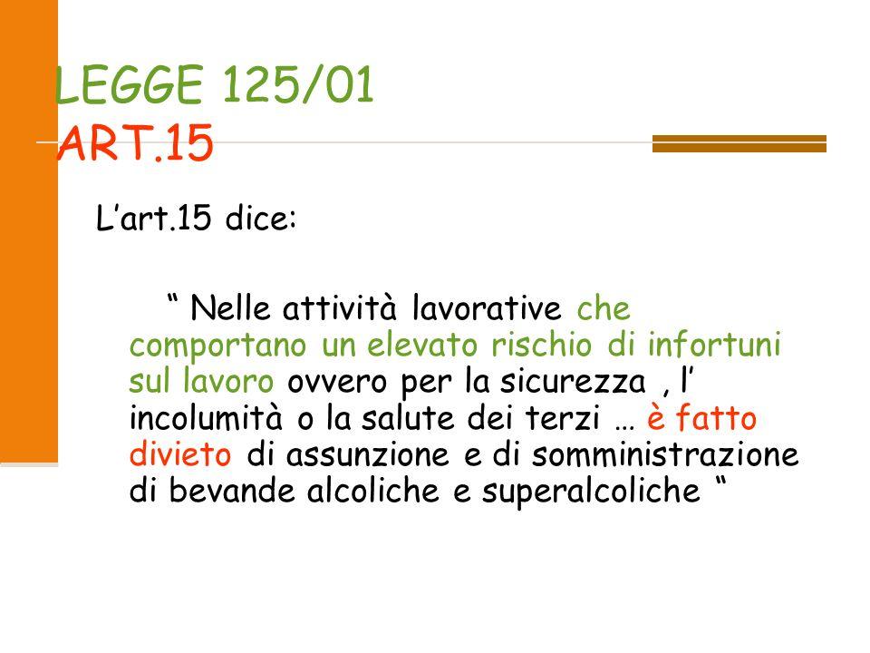 LEGGE 125/01 ART.15 L'art.15 dice: