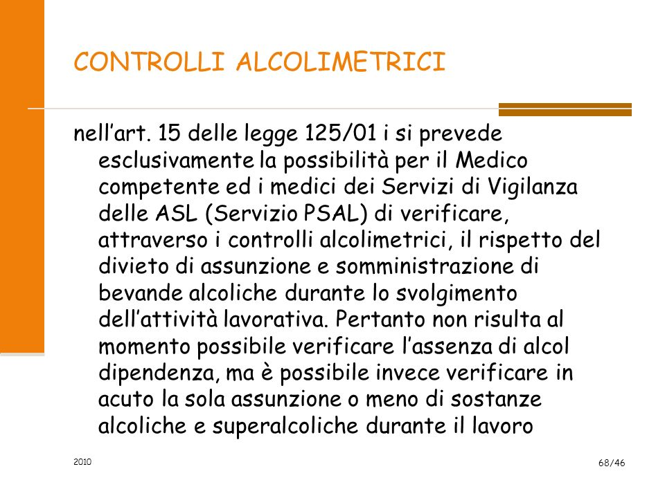 CONTROLLI ALCOLIMETRICI