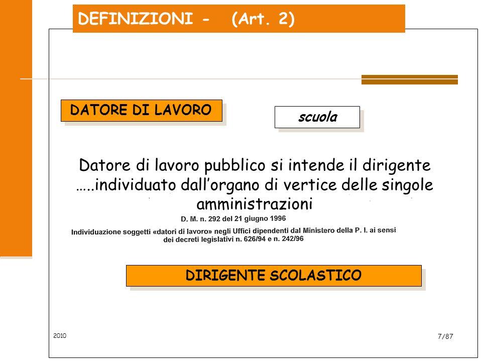 DEFINIZIONI - (Art. 2) DATORE DI LAVORO. scuola.