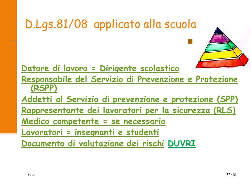 D.Lgs.81/08 applicato alla scuola