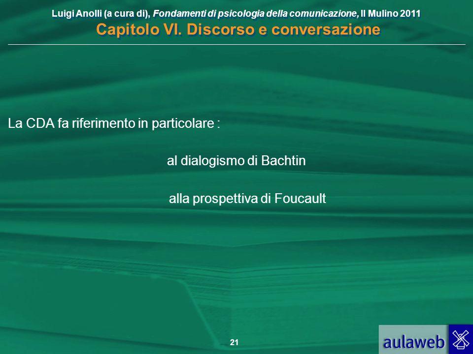 La CDA fa riferimento in particolare : al dialogismo di Bachtin