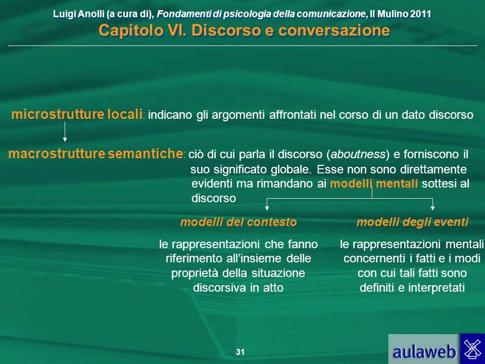 microstrutture locali: indicano gli argomenti affrontati nel corso di un dato discorso