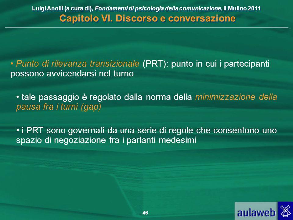 Punto di rilevanza transizionale (PRT): punto in cui i partecipanti possono avvicendarsi nel turno