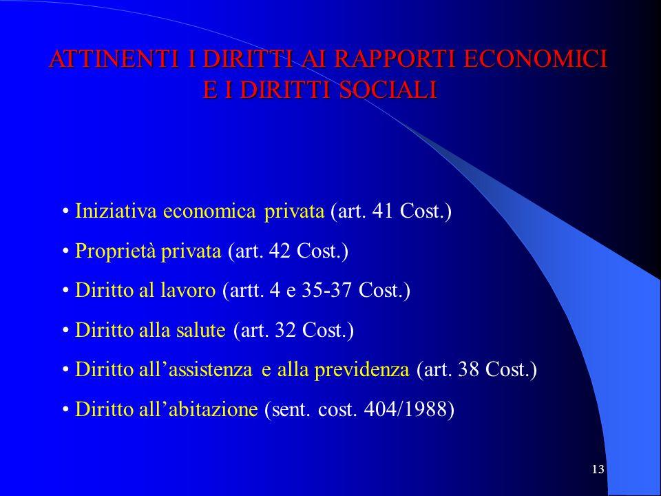 ATTINENTI I DIRITTI AI RAPPORTI ECONOMICI E I DIRITTI SOCIALI