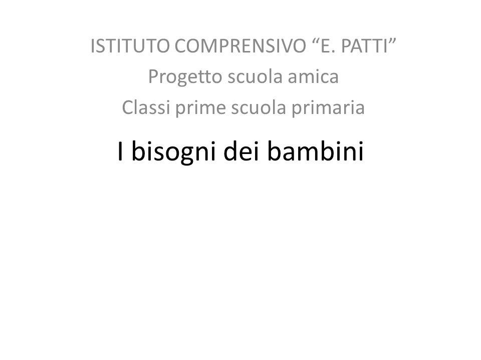 I bisogni dei bambini ISTITUTO COMPRENSIVO E. PATTI