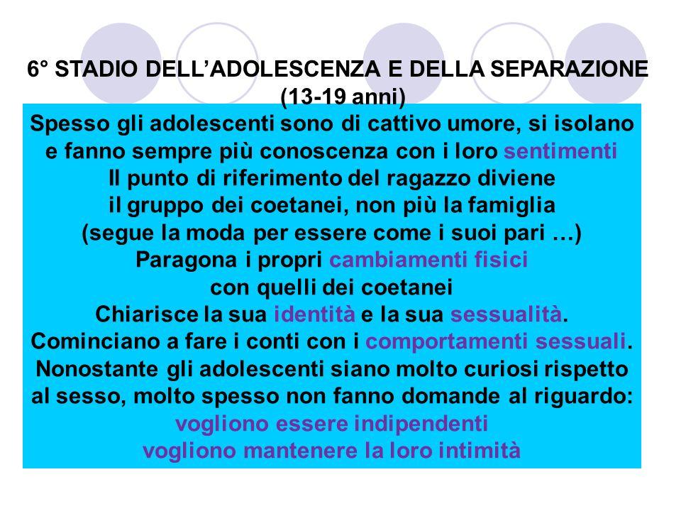 6° STADIO DELL'ADOLESCENZA E DELLA SEPARAZIONE (13-19 anni)