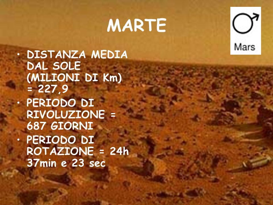 MARTE DISTANZA MEDIA DAL SOLE (MILIONI DI Km) = 227,9
