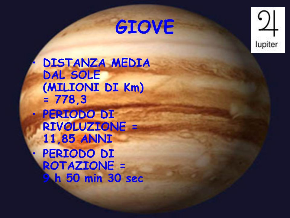 GIOVE DISTANZA MEDIA DAL SOLE (MILIONI DI Km) = 778,3