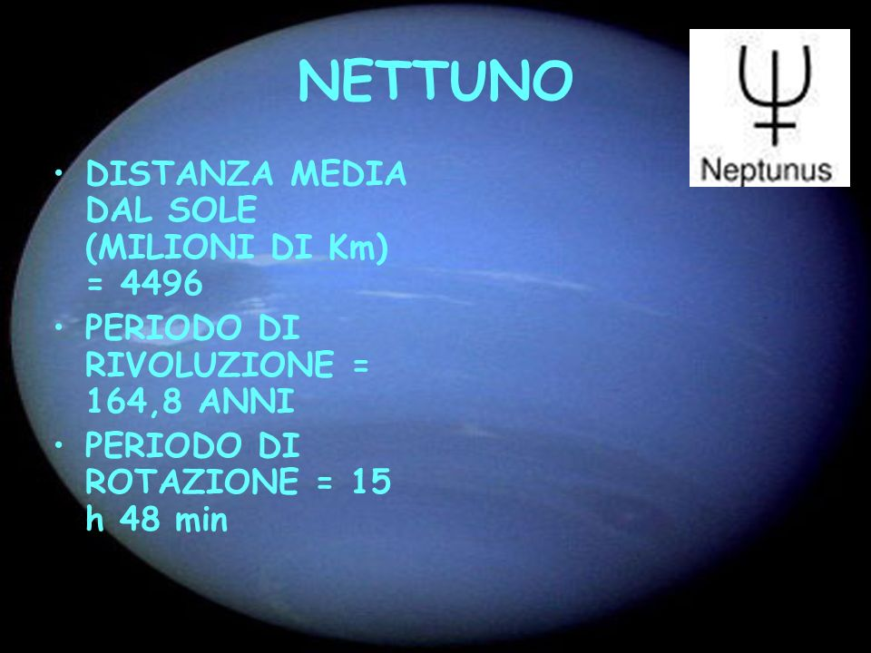 NETTUNO DISTANZA MEDIA DAL SOLE (MILIONI DI Km) = 4496