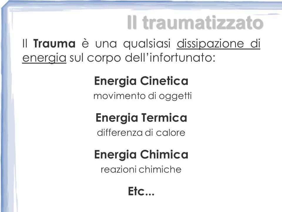 Il traumatizzato Il Trauma è una qualsiasi dissipazione di energia sul corpo dell'infortunato: Energia Cinetica.