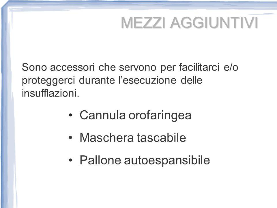 MEZZI AGGIUNTIVI Cannula orofaringea Maschera tascabile
