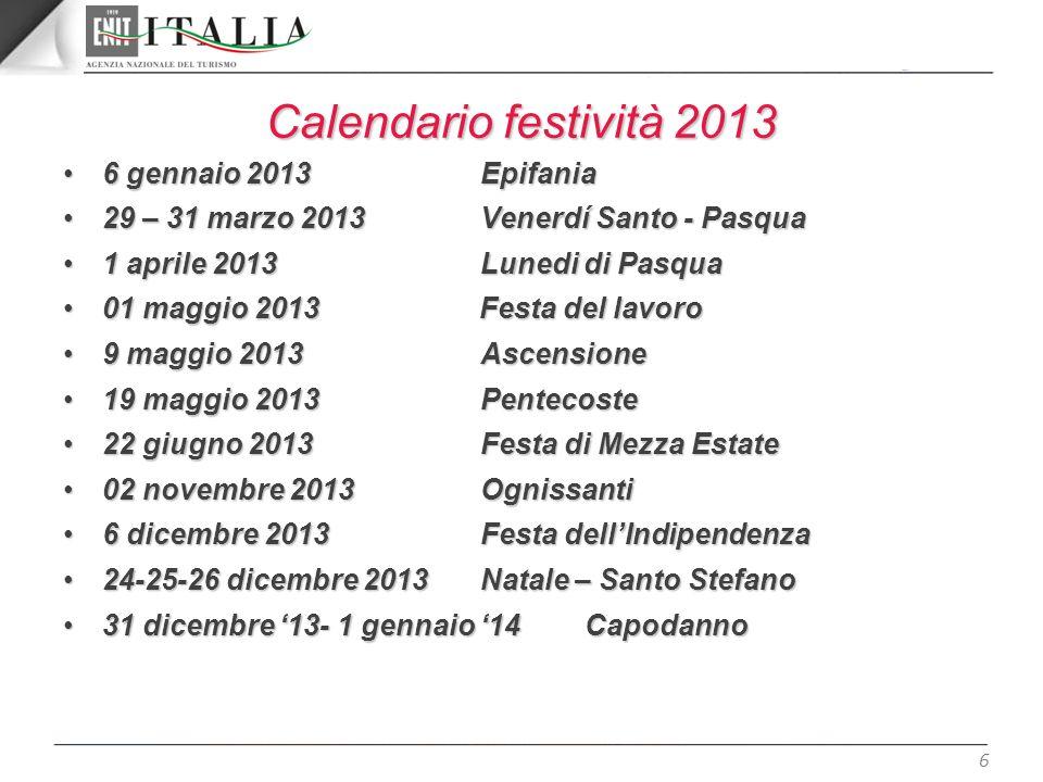 Calendario festività 2013 6 gennaio 2013 Epifania