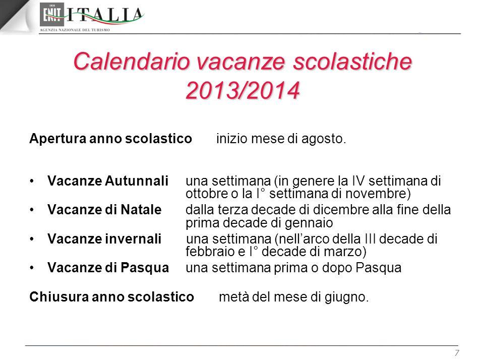 Calendario vacanze scolastiche 2013/2014