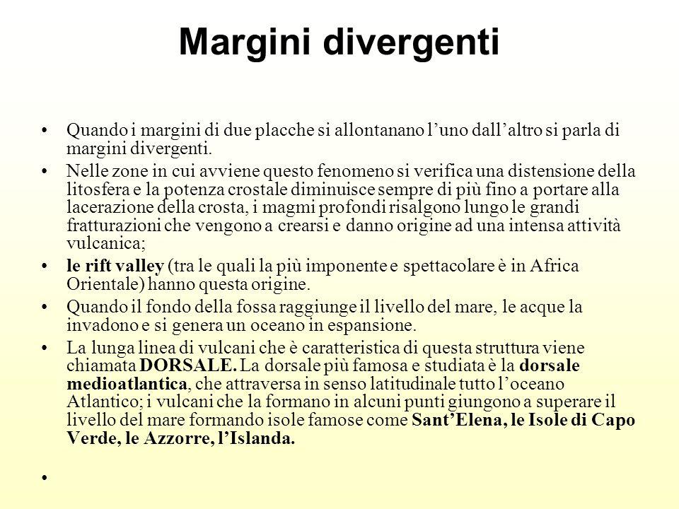 Margini divergenti Quando i margini di due placche si allontanano l'uno dall'altro si parla di margini divergenti.