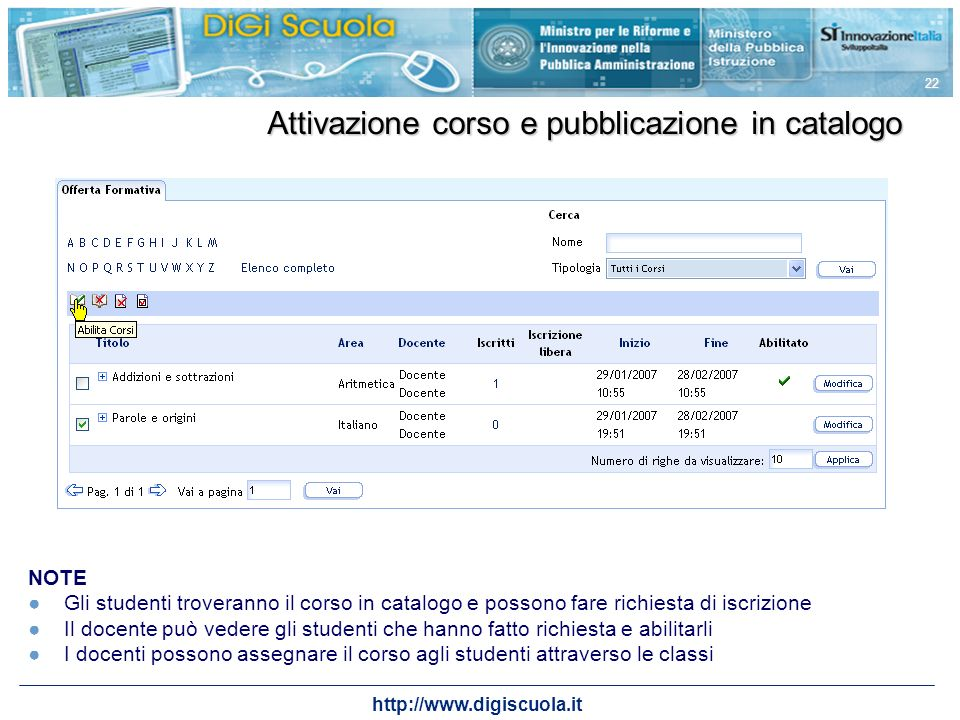 Attivazione corso e pubblicazione in catalogo