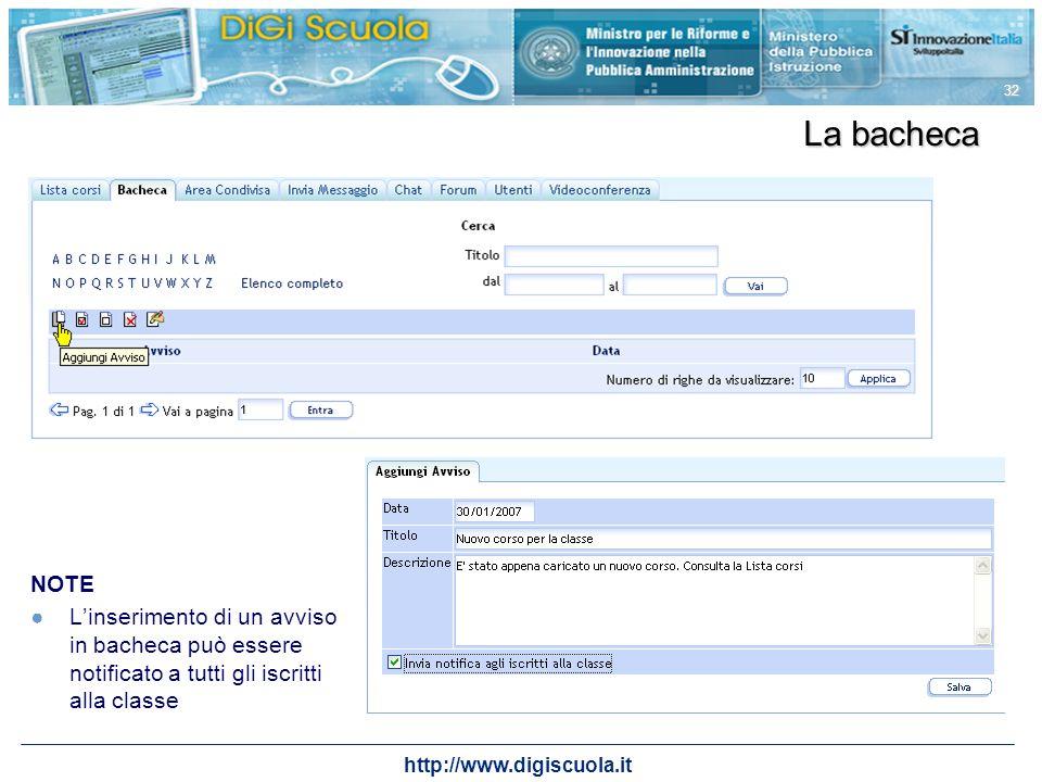 La bacheca NOTE. L'inserimento di un avviso in bacheca può essere notificato a tutti gli iscritti alla classe.