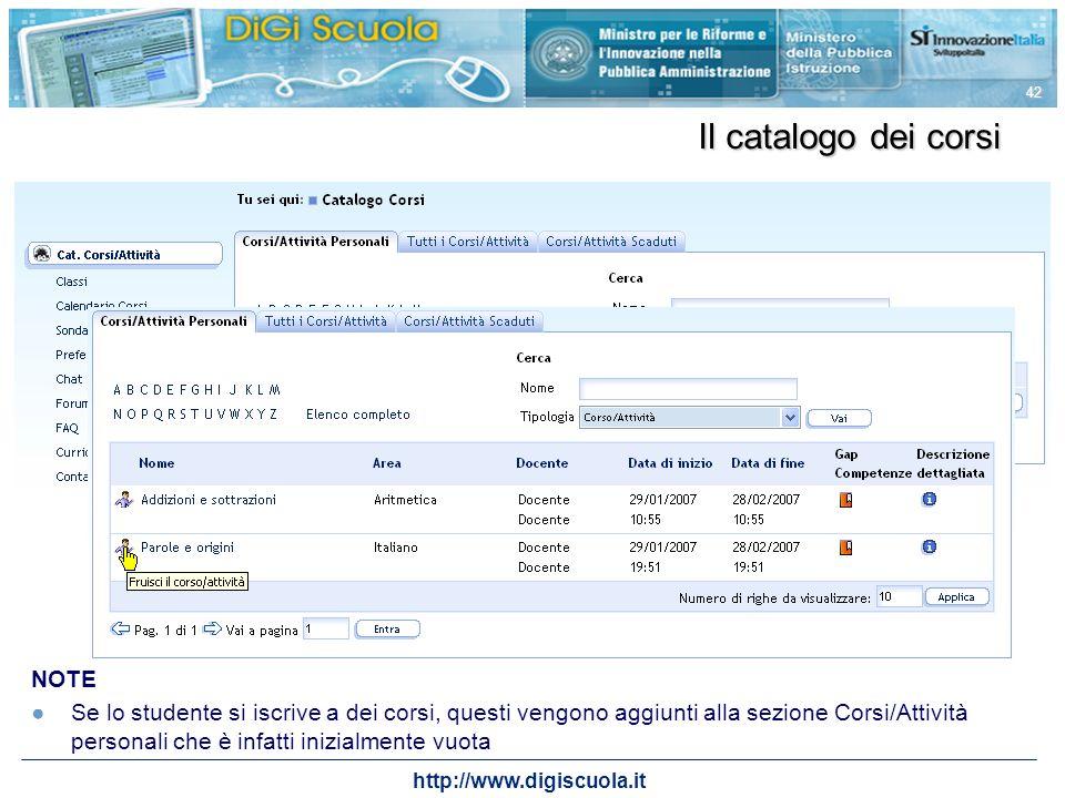 Il catalogo dei corsi NOTE