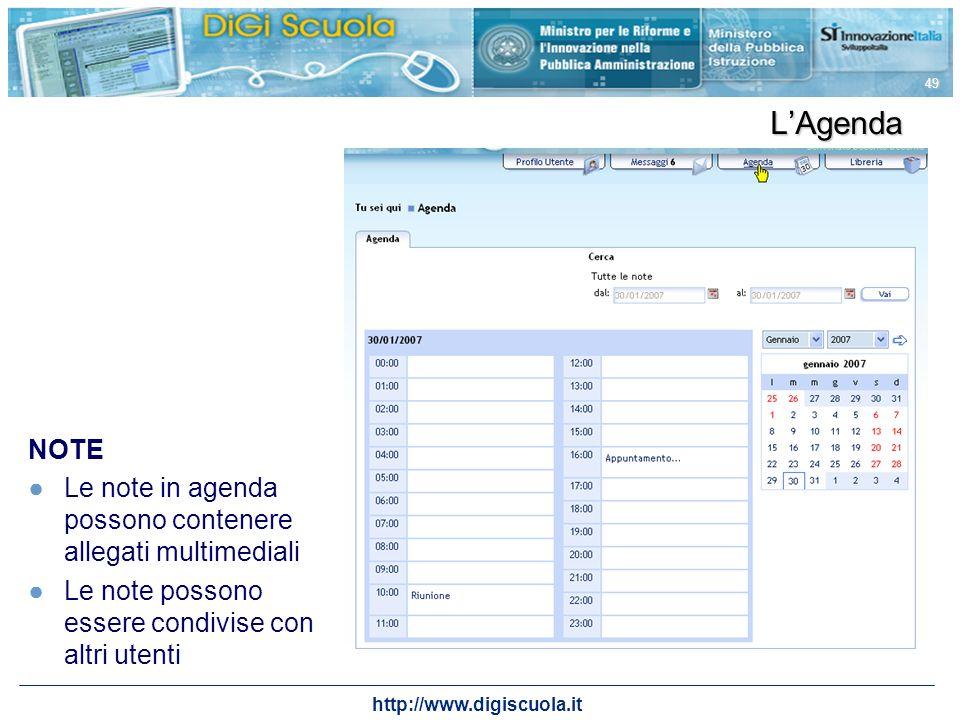 L'Agenda NOTE. Le note in agenda possono contenere allegati multimediali. Le note possono essere condivise con altri utenti.