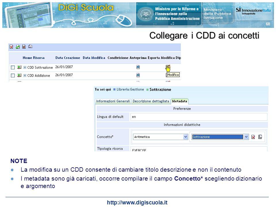 Collegare i CDD ai concetti