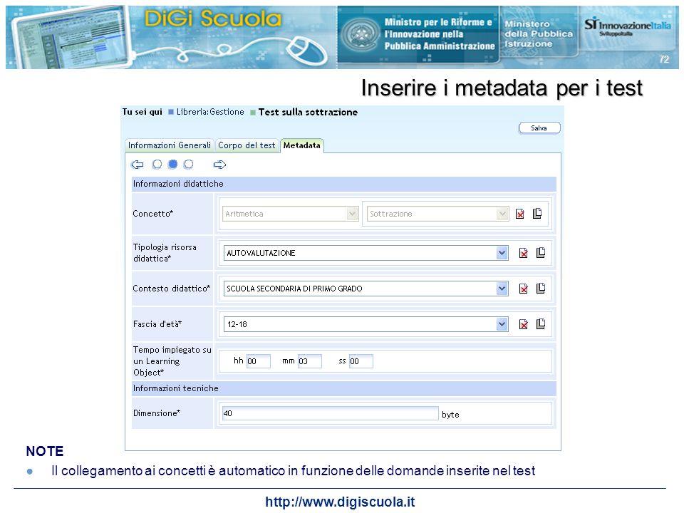 Inserire i metadata per i test
