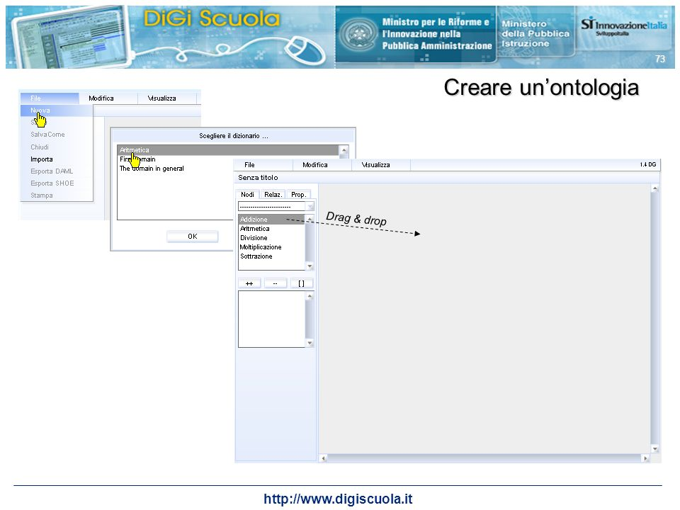 Creare un'ontologia Drag & drop http://www.digiscuola.it