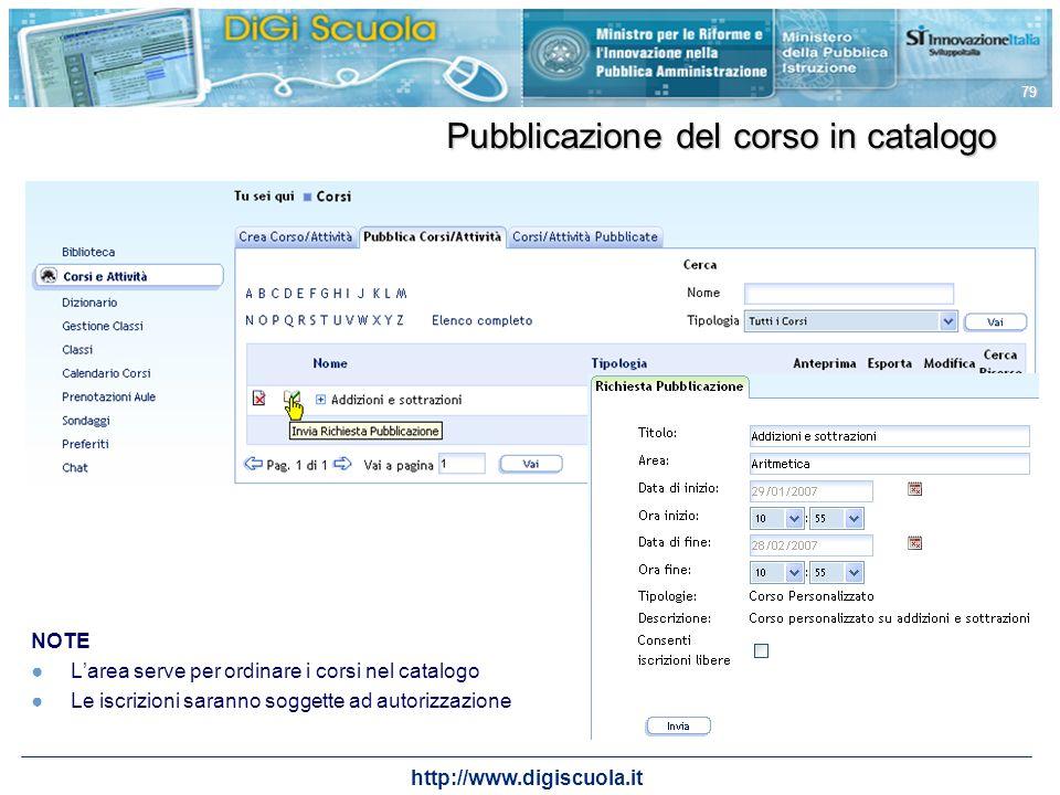 Pubblicazione del corso in catalogo