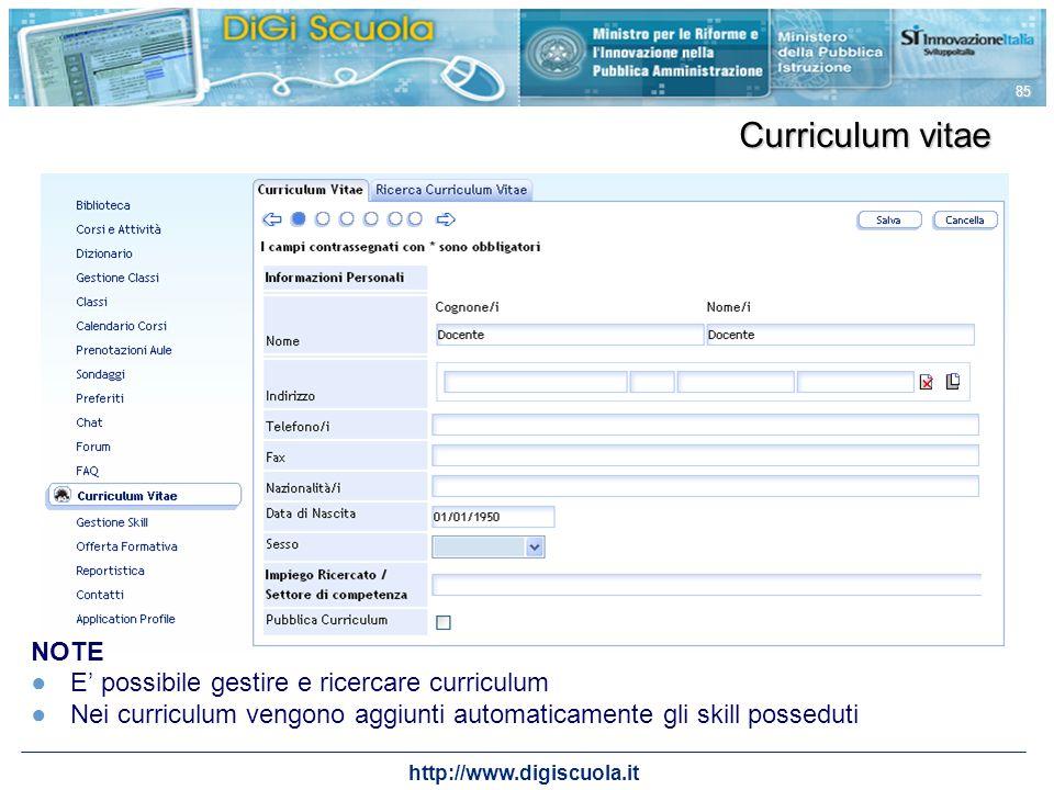 Curriculum vitae NOTE E' possibile gestire e ricercare curriculum