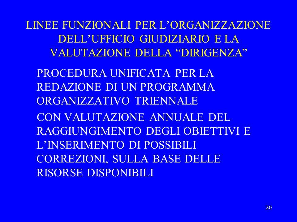 LINEE FUNZIONALI PER L'ORGANIZZAZIONE DELL'UFFICIO GIUDIZIARIO E LA VALUTAZIONE DELLA DIRIGENZA