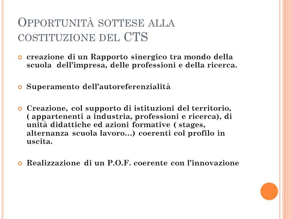 Opportunità sottese alla costituzione del CTS