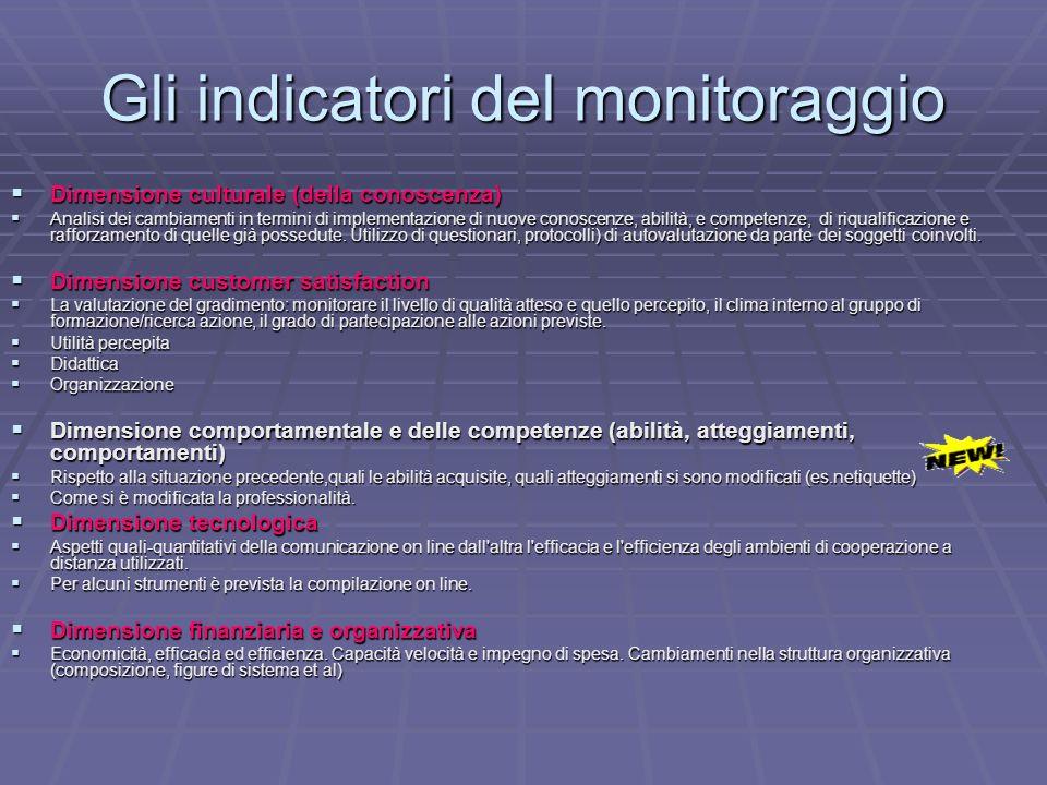 Gli indicatori del monitoraggio