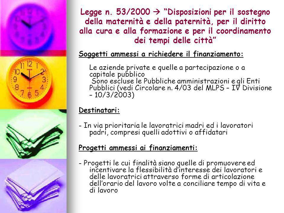 Legge n. 53/2000  Disposizioni per il sostegno della maternità e della paternità, per il diritto alla cura e alla formazione e per il coordinamento dei tempi delle città