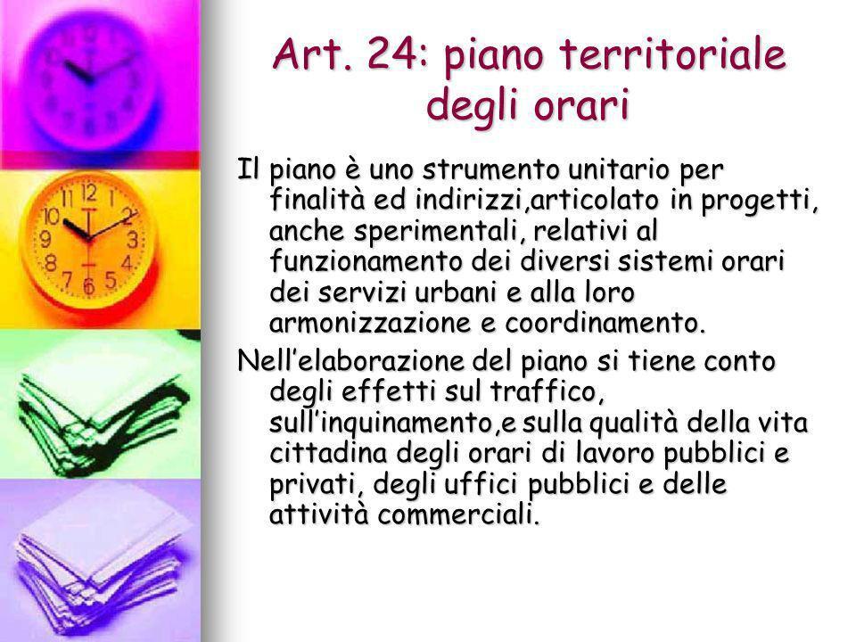Art. 24: piano territoriale degli orari