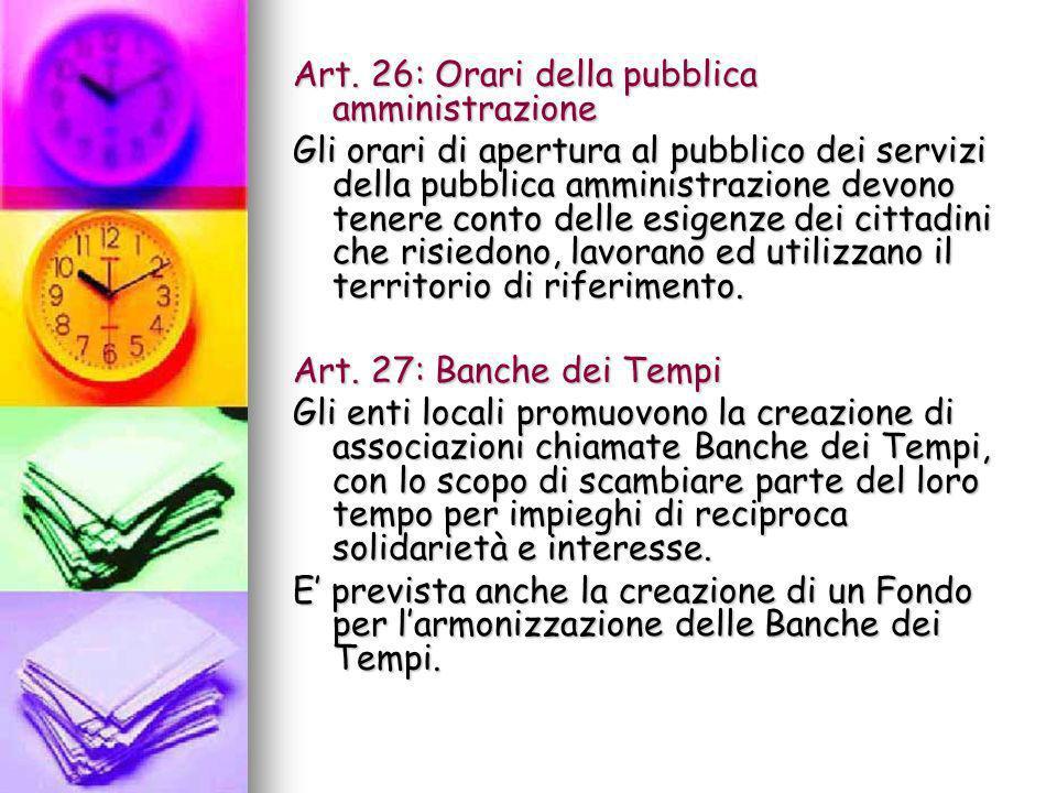 Art. 26: Orari della pubblica amministrazione