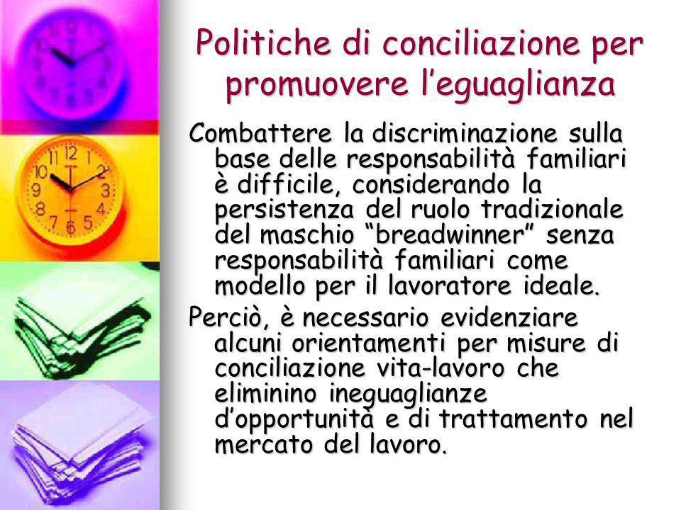 Politiche di conciliazione per promuovere l'eguaglianza