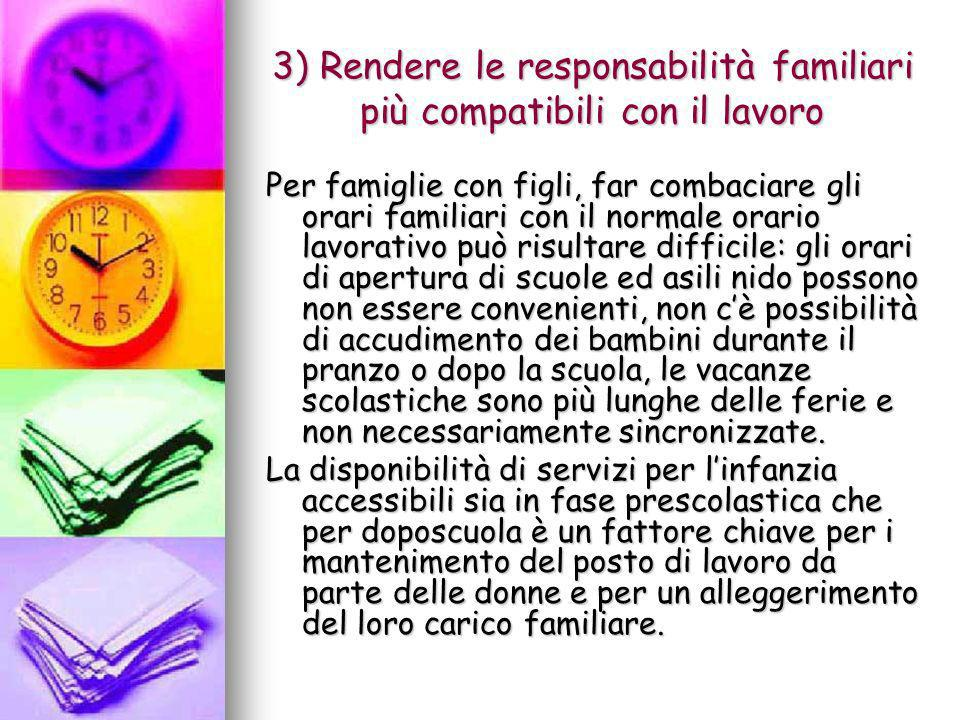 3) Rendere le responsabilità familiari più compatibili con il lavoro