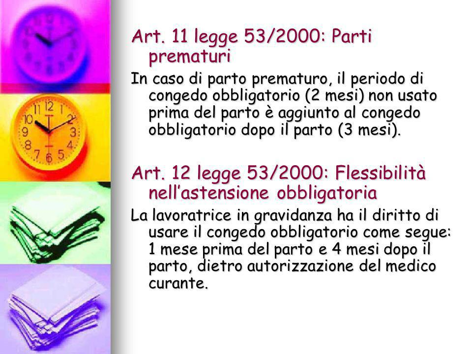 Art. 11 legge 53/2000: Parti prematuri