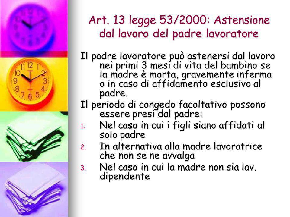 Art. 13 legge 53/2000: Astensione dal lavoro del padre lavoratore