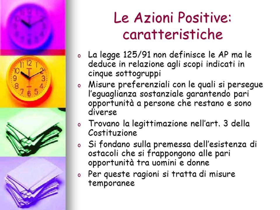 Le Azioni Positive: caratteristiche