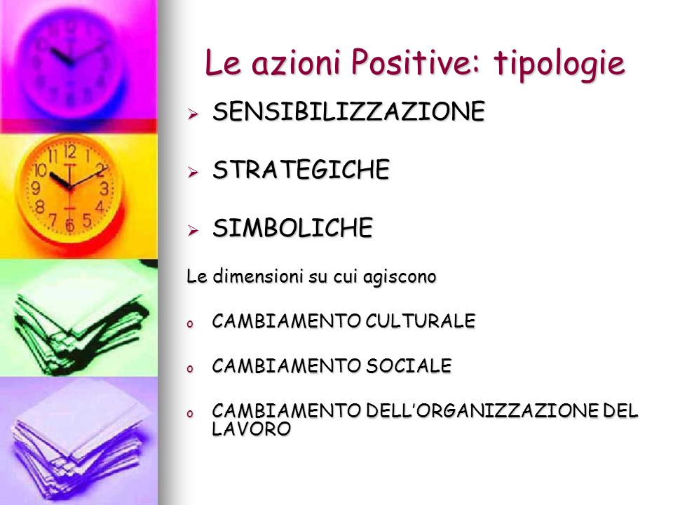 Le azioni Positive: tipologie