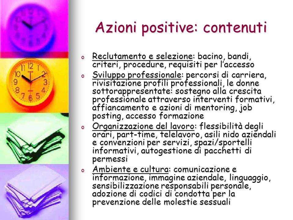 Azioni positive: contenuti