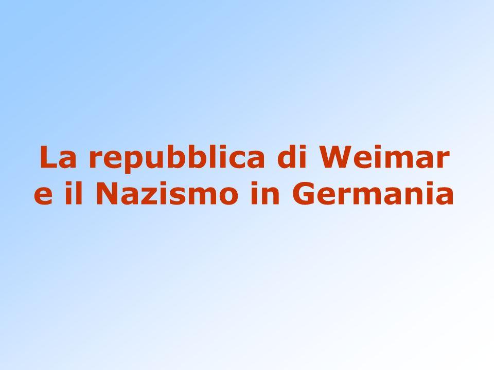 La repubblica di Weimar e il Nazismo in Germania