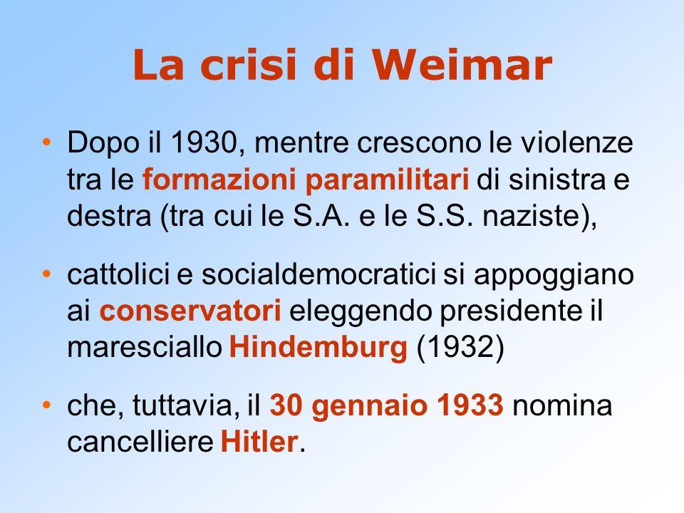 La crisi di Weimar Dopo il 1930, mentre crescono le violenze tra le formazioni paramilitari di sinistra e destra (tra cui le S.A. e le S.S. naziste),