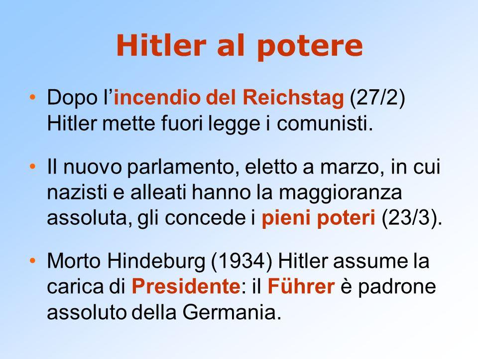 Hitler al potere Dopo l'incendio del Reichstag (27/2) Hitler mette fuori legge i comunisti.