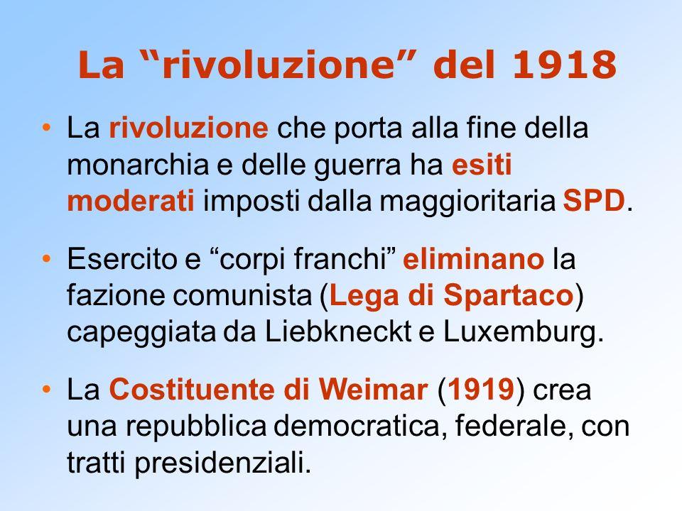 La rivoluzione del 1918 La rivoluzione che porta alla fine della monarchia e delle guerra ha esiti moderati imposti dalla maggioritaria SPD.