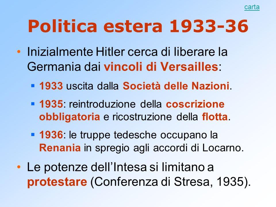 carta Politica estera 1933-36. Inizialmente Hitler cerca di liberare la Germania dai vincoli di Versailles: