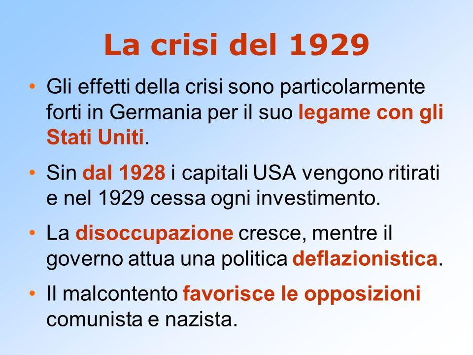 La crisi del 1929 Gli effetti della crisi sono particolarmente forti in Germania per il suo legame con gli Stati Uniti.