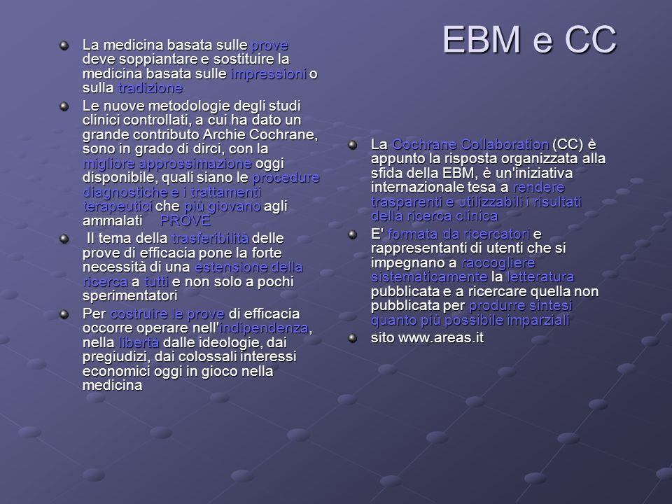 EBM e CC La medicina basata sulle prove deve soppiantare e sostituire la medicina basata sulle impressioni o sulla tradizione.