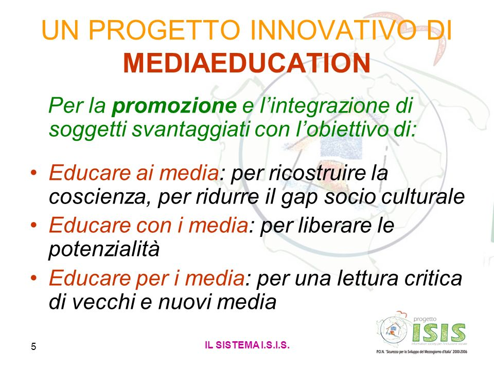 UN PROGETTO INNOVATIVO DI MEDIAEDUCATION
